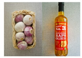Garlic and cold pressed organic rapeseed oil from the island